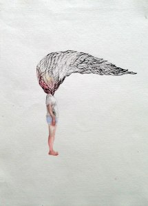 Yiwon Park, 2014, Wings of Desire, gouache on paper, 38 x 55cm Exhibition work