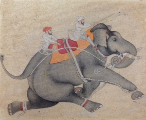 Two men on running elephant