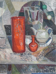 Coppersmith_Yvette_Arrangement with Grey and Orange_Oil on linen_61cm x 46cm_2014 copy