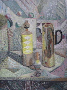 Coppersmith_Yvette_Arrangement with Grey and Yellow on linen_61cm x 46cm_20142 copy