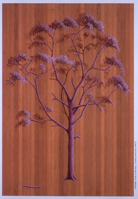 Sally Clarke, My Pink Bush and the Lost Limb, 2004, acrylic paint on dollhouse floorboards. Image courtesy of the artist.