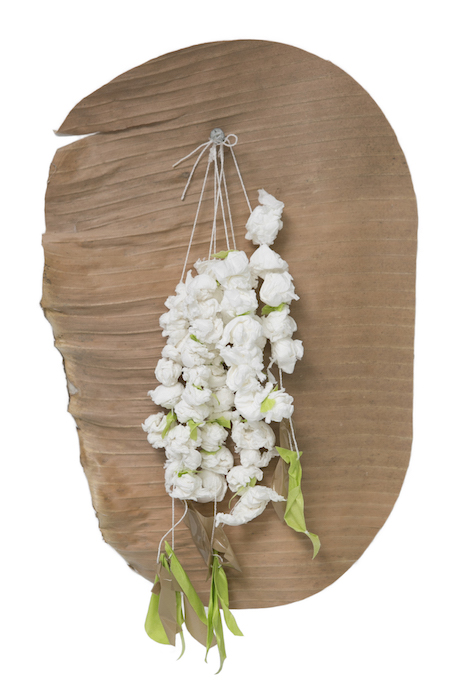 Marikit Santiago, Sampaguita, 2015, toilet tissue, thread, packaging tape and dried banana leaf, dimensions variable. Image: Cassie Bedford.