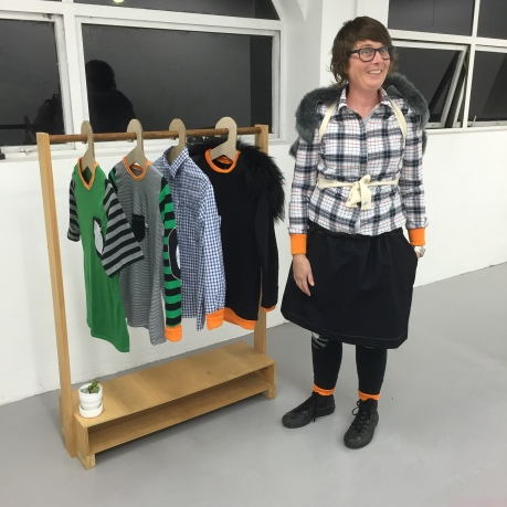 Sarah Newall pictured here with her exhibition Fashist (Winter Collection) at Sydenham 55, 2016. Image: AirSpace Projects.